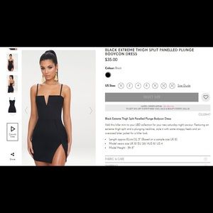 NWT BLACK THIGH SPLIT PANELED PLUNGE BODYCON DRESS